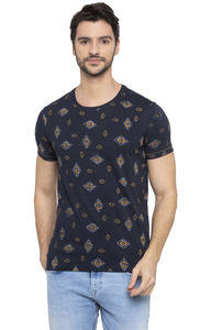 Navy Printed Slim Fit T-Shirts