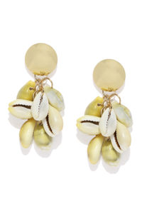 Gold-Toned & Off-White Contemporary Drop Earrings