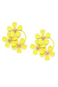 Yellow Floral Drop Earrings