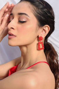 Red Contemporary Drop Earrings