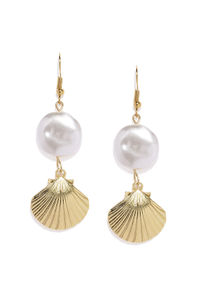Gold-Toned & White Quirky Drop Earrings