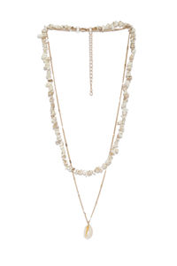 Women Gold-Toned & White Sea Shell Layered Necklace