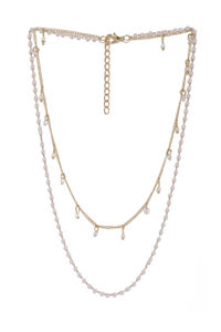 Women Gold-Toned & White Embellished Layered Chain