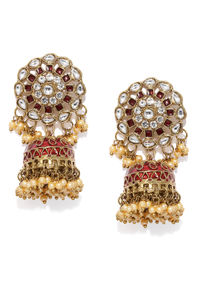 Women Gold-Toned & Red Dome Shaped Jhumkas