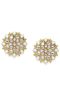Women Turquoise Blue & Silver-Toned Floral Oversized Studs