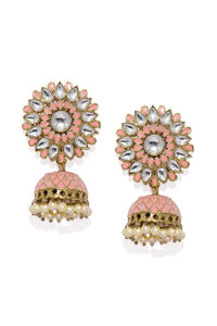 Women Pink & Gold-Toned Dome Shaped Jhumkas