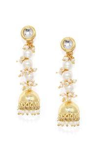Women Gold-Toned & White Dome Shaped Drop Earrings