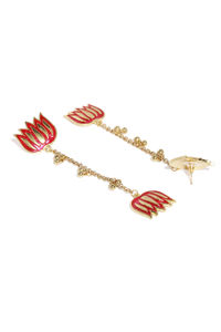 Women Fuchsia & Gold-Toned Classic Drop Earrings