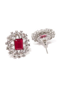 Silver-Toned & Red Rhodium-Plated Embellished Oval Studs