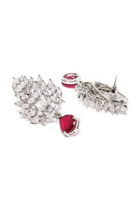 Silver-Toned & Red Leaf Shaped Rhodium-Plated Embellished Drop Earrings