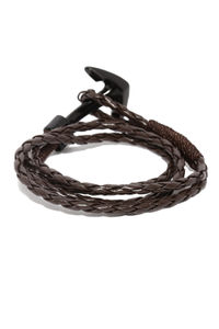 Men Brown Braided Bracelet