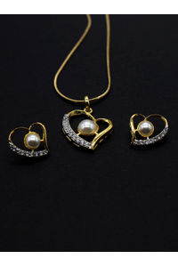 Gold-Plated White Cz Stone-Studded Jewellery Set