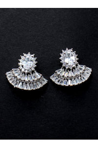Silver-Toned Contemporary Studs