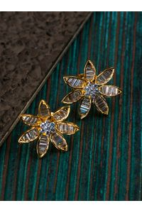 Gold-Toned Floral Studs