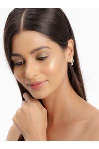 Gold-Plated Teardrop Shaped Stud Earrings