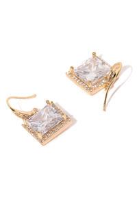 Gold-Toned Square Lucida Drop Earrings