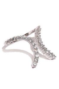 Women Silver-Toned Petite Twist Finger Ring