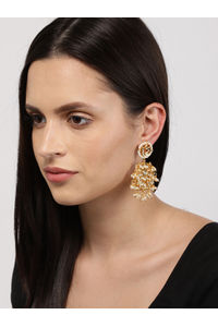 Gold-Toned White Circular Drop Earrings