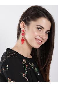 Red Fringe Statement Drop Earrings