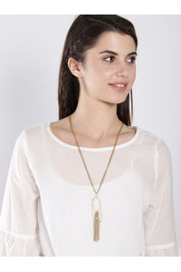 Gold Statement Lariat Necklace