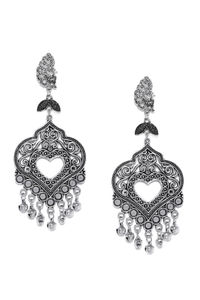 Oxidised Silver-Toned Mor Heart Drop Earrings