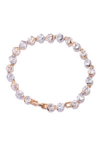 Gold-Toned Cz Stone-Studded Charm Bracelet