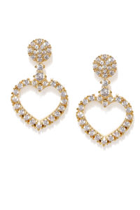 Silver Toned Heart Cz Stone-Studded Drop Earrings