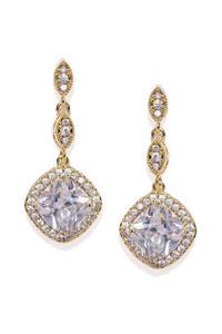 Silver Toned Cz Stone-Studded Drop Earrings