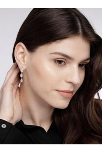Gold Toned Heart Cz Stone-Studded Drop Earrings
