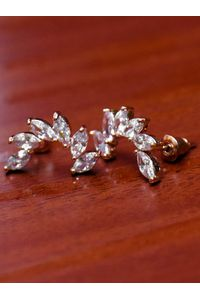 Rose Gold-Plated Leaf Shaped Stud Earrings