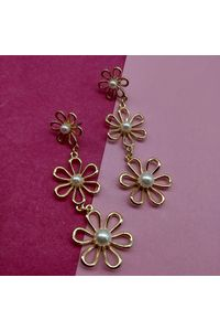Gold-Toned & White Floral Drop Earrings