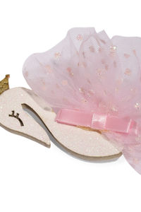 Girls Pink Swan Shaped Alligator Hair Clip