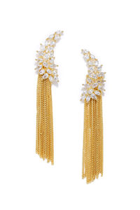 Gold-Toned Leaf Shaped Drop Earrings