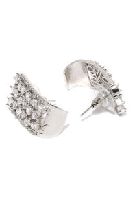 White & Silver-Toned Rhodium-Plated Embellished Contemporary Oversized Studs