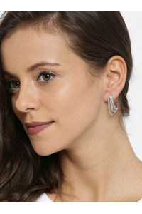Silver-Toned & White Contemporary Drop Earrings