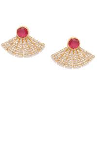 Gold-Toned & Red Geometric Drop Earrings