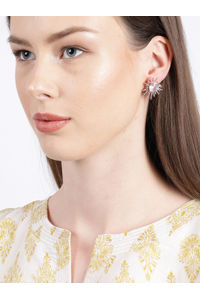 Rose Gold-Toned & White Circular Studs