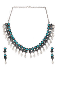 Silver-Toned & Turquoise Blue Floral Designed Oxidised Jewellery Set