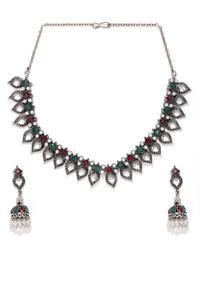Silver-Toned Leaf Designed Oxidised Jewellery Set