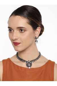 Silver-Toned Peacock Designed Oxidised Jewellery Set