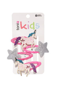 Girls Pink & Silver-Toned Set of 4 Embellished Tic Tac Hair Clips