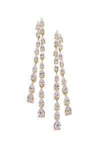 Gold-Toned Oval Drop Earrings