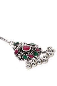 Women Multi-Coloured Handcrafted Oxidised Anousheh Maang Tika