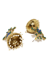 Gold-Toned Green Dome Shaped Jhumkas