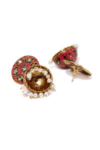 Pink Blue Dome Shaped Jhumkas