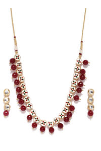 Gold-Toned Maroon Studded Reversible Jewellery Set