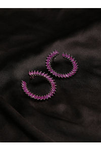 Gun Metal -Plated Pink Cz Circular Half Hoop Earring For Women