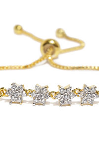 Gold Toned Solitaire Cz Stone-Studded Bracelet For Women