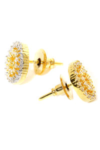 Gold -Plated Cz Circular Stud Earring For Women