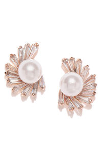 Rose Gold-Toned Contemporary Stud Earrings